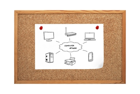 poster with computer network clip to corkboard Stock Photo - 21593202