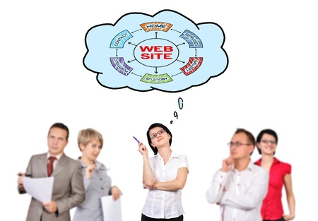 businesswoman and bubble speech with scheme web site scheme photo