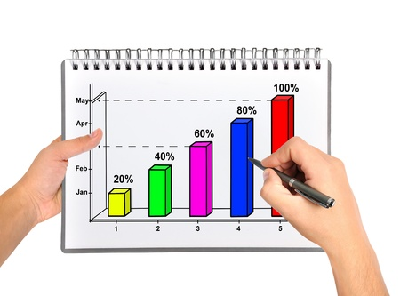hand drawing graph in notebook Stock Photo - 21593207
