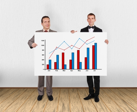 two businessman holding placard with chart in office photo