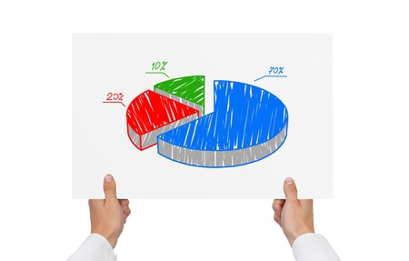 hand holding paper with pie graph Stock Photo - 21593240