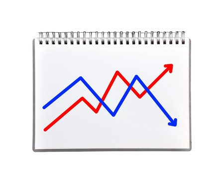 graph in notebook on a white background Stock Photo - 21593242