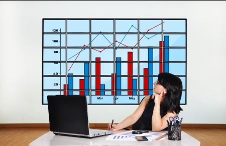 businesswoman in office looking at plasma panel with chart photo