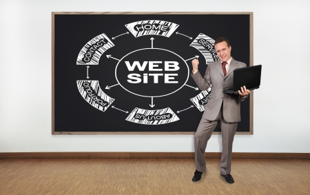 happy  businessman and blackboard with scheme website photo