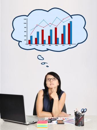 thinking businesswoman in office and speech bubbles photo