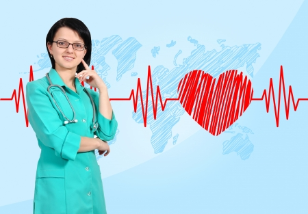 happy smiling young female doctor and pulsing photo