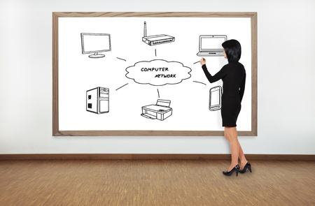 businesswoman drawing computer network on blackboard Stock Photo - 21788875