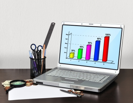 laptop with graphic and money on table photo
