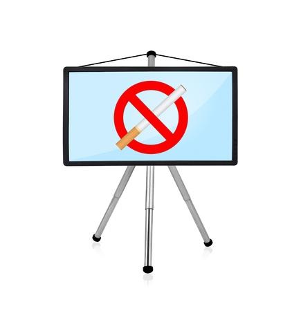 flat panel: flat panel on tripod with stop smoking symbol