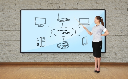 businesswoman in office pointing at plasma with computer network photo