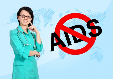 young female nurse with syringe, no aids concept photo