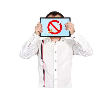 men holding tablet with  stop smoking symboll photo
