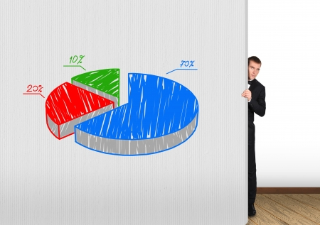businessman looking out from behind a concrete wall  with drawing chart photo