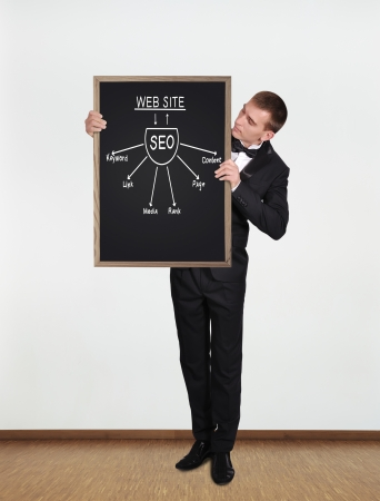 businessman standing in office and  holding blackboard with seo scheme photo