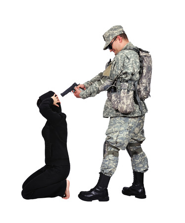 soldier put a gun to his head hostage Stock Photo