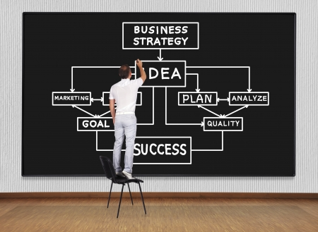 man standing on chair and drawing business scheme photo