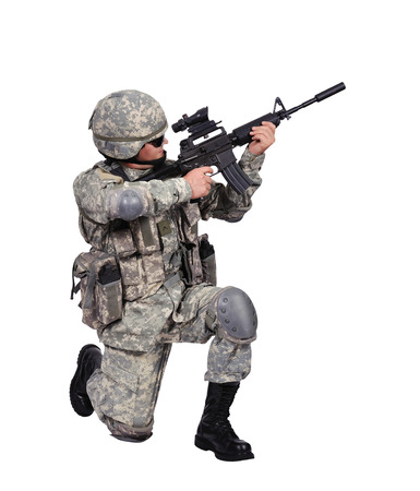 fatigues: soldier with assault rifle on white background