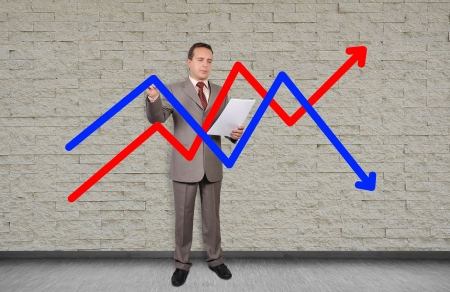 businessman drawing chart on an invisible wall photo