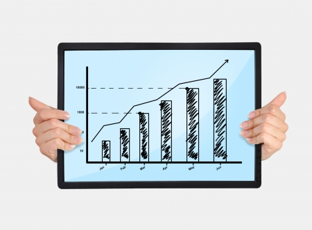 tablet with chart in hands isolated on white photo