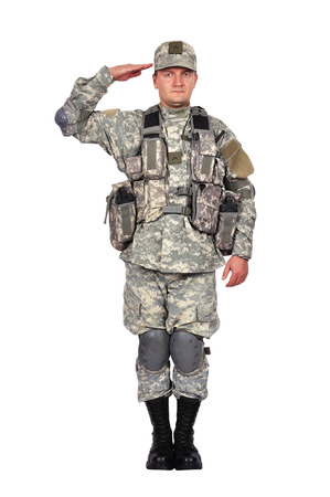 salutes: U.S. soldier salutes  on white background Stock Photo