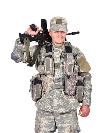 fatigues: us soldier with assault rifle on white background Stock Photo