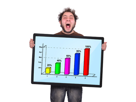 crazy man holding plasma panel with graph photo