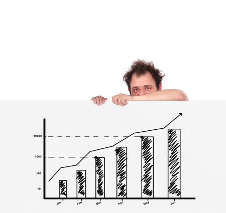 unhappy men holding big poster with chart Stock Photo - 23125645