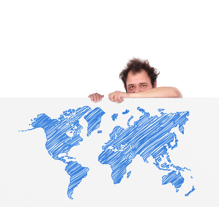 unhappy men holding big poster with world map Stock Photo - 23125648