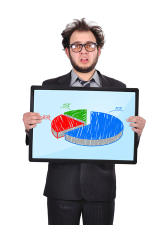 sad businessman holding plasma panel with chart photo