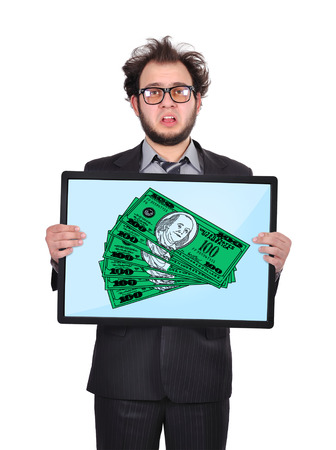 sad businessman holding plasma panel with money photo