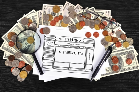 money on table and paper with template website photo