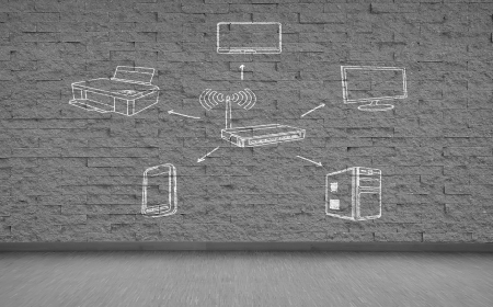 drawing wifi scheme on gray brick wall photo