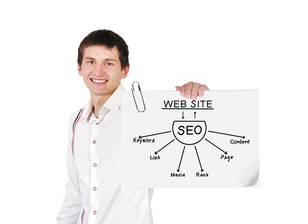 young boy holding poster with seo plan photo