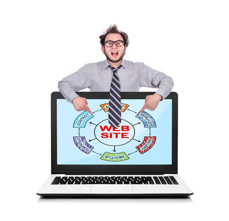 happy businessman pointing to laptop with  plan website photo
