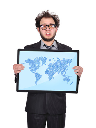 sad businessman holding plasma panel with world map photo