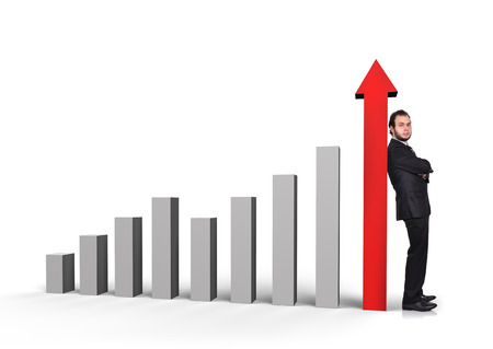 schemes: businessman in suit standing near a graph column