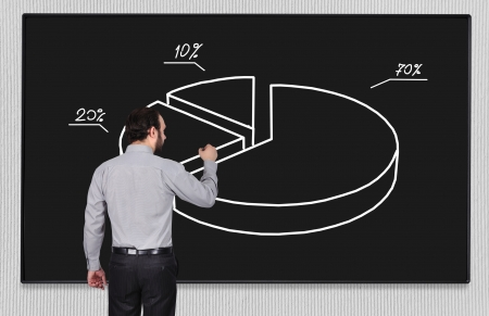 young businessman drawing pie chart on blackboard photo