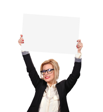 businesswoman holding placard on a white background photo
