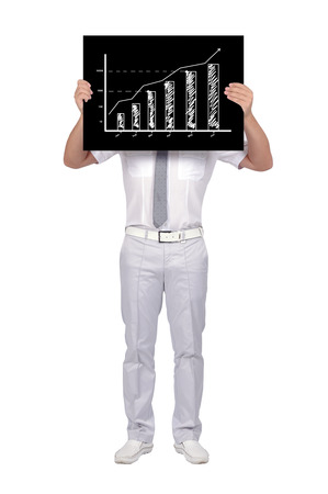 businessman holding black poster with gtaph photo