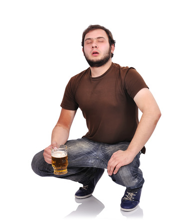 man with beer on a white background photo