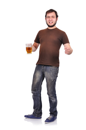 alcoholic with beer on a white background photo