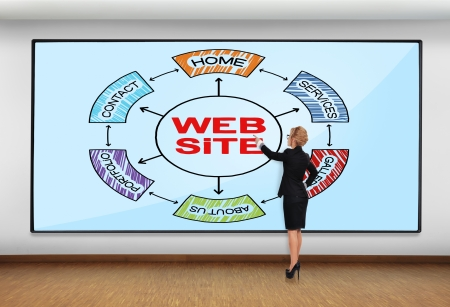 businesswoman in office pointing to big plasma with website scheme