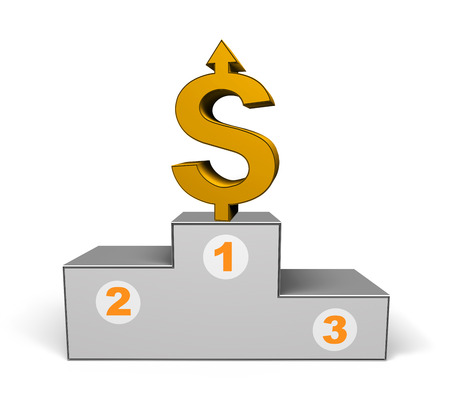 podium with gold dollar on a white background photo