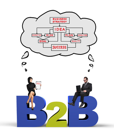 businessman and businesswoman thinking at business to business concept Фото со стока