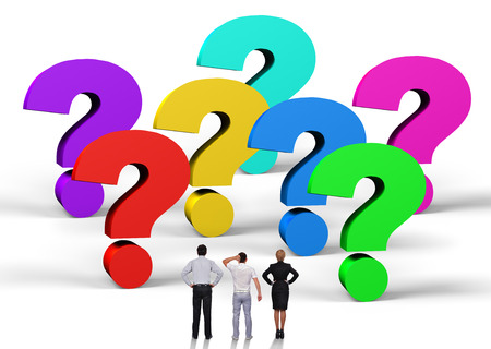 business people standing near a question marks photo