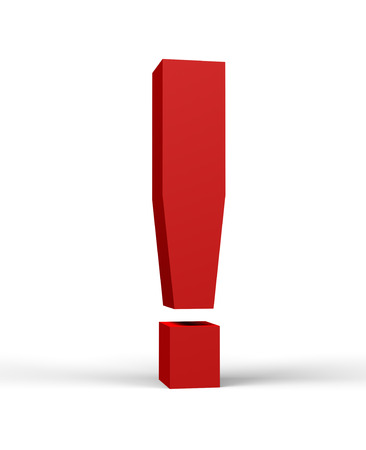 emphasis: red exclamation mark, isolated on a white