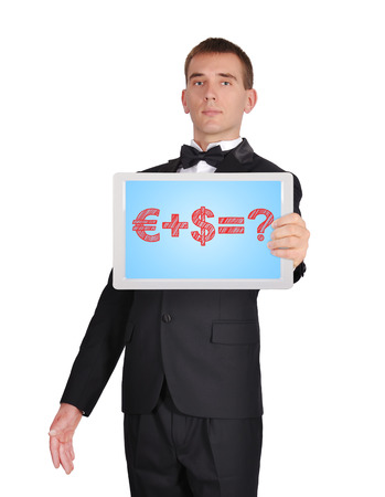 businessman in tuxedo holding touch pad with business formula photo