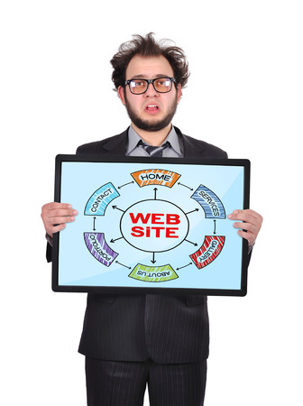 sad businessman holding plasma panel with plan website photo