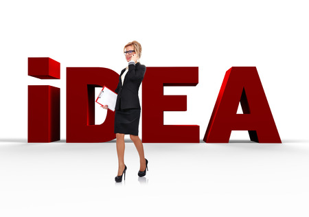 businesswoman and word idea written by red letters photo