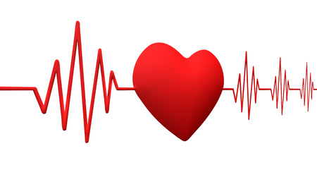 pulse trace: Cardiogram pulse trace and heart Stock Photo